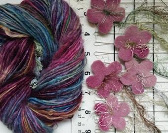 Art yarn handspun SALE Dusky Garden 2.4 oz. baby alpaca suri with felted flowers