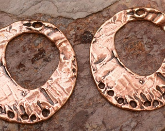 Bohemian Style Round Earring Findings with 7 Holes in Copper Bronze, E-98