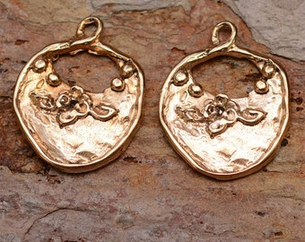 Gold Bronze Earring Dangles with Flowers