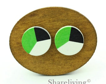 Buy 1 Get 1 Free - Colorful Wood Cabochon, Wooden Button, 12mm 15mm 20mm Round Black White Green Wood Cabochon - HWC034Q