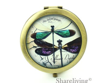 1pcs Vintage Dragonfly Compact Mirror, Pocket Mirror,  Antique Bronze Silver Gold Makeup Mirror, Personalized Mirror - HPM011E