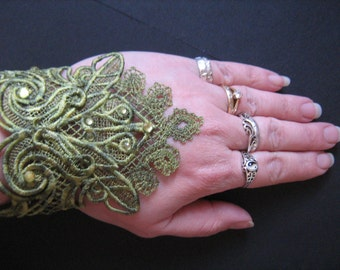 Handmade Embroidered Green Varigated Lace Cuffs with Diamantes  Goth/Steampunk/Burlesque