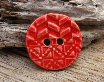 RUSTIC HANDMADE BUTTON - 1 Large Handmade Ceramic Two Hole Button