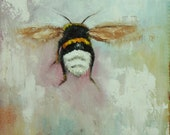 Bee painting 330 12x12 inch insect animal portrait original oil painting by Roz