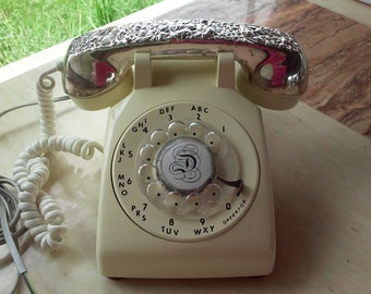 SALE!!! Vintage Rotary Phone with Silver-plated Receiver Cover