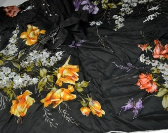 Vintage Roses on Black Rayon Scarf 30 inch Sq Made in Japan
