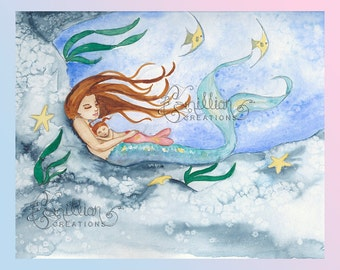 Shhhh Mermaid and Baby Print from Original Watercolor Painting by Camille Grimshaw