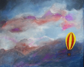 Escape - Large Original Naive Impressionist Seascape Vintage Hot Air Balloon Acrylic Painting on 20 x 16 Canvas