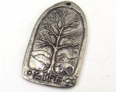 Tree of Life pendant, Green Girl Studios, flat lead free pewter Thoreau quote, 35mm