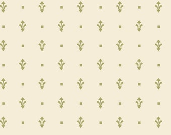 FAT QUARTER Squares in Olive Blue Hill Honeymoon Cottage b7253-5 cotton fabric