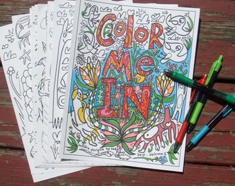 Adult Coloring Book +BONUS Note Card -10 Whimsical Funny Animal Designs on Card Stock -Zentangle Zendoodle Doodle of Cats Dogs Owls Birds