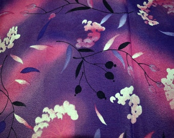 Fabric Remnant Purple Floral Polyester 2 yards long 44 inches wide