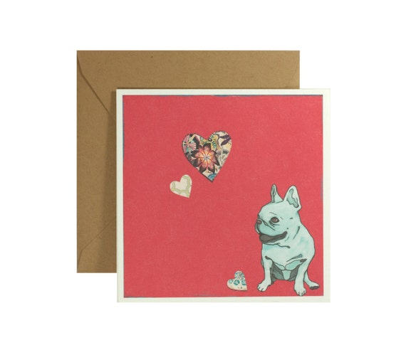 French Bulldog Card - Greeting Card - Note Card - French Bulldog Art - Handmade Card - Frenchie Card - Love Card - Blank Card - Valentine