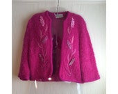 RESERVED MEDIUM Vibrant, Shocking Pink Vintage 1950s Designer Lee Herman Bouclé Mohair Cardigan Sweater with Embroidery/Ribbonwork