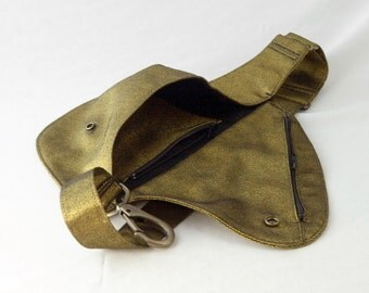 Belt Bag in Brassy Metallic Gold Denim - Fanny Pack, Hip Bag, Bag, Festival Pack, Hands Free, Stylish Summer Bag, Wicked Awesome Gold Bag