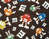 M & M Chocolate candy fabric - 1 yard - brown