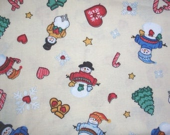Christmas snowman winter fabric - 1 yard - pale yellow
