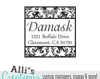 Damask Return Address Stamp Pretty Self Inking Stamper