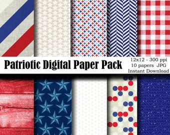 Patriotic Digital Paper Pack - 4th of July Paper - Independence Day - Instant Download