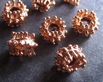 10 Copper Baby King Urchin Large Double Sided Spacers - 7mm X 8.5mm