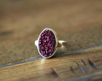 Druzy Oval Gold Ring , Purple Statement Gemstone Ring , Gold , Sterling Silver , Rose Gold , Bezel Wrapped Gift Ideas - Aubergine
