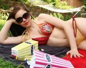 Harry Potter Gryffindor House Crest Cosplay Bikini Bra Top Tie Waisted Set - Choose Size - MTCoffinz