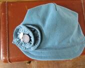 Handmade Cotton Canvas Women's Summer Hat in Lake Blue Size Medium