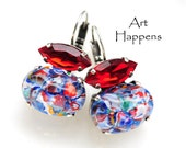 "Vintage Glass Cabochon and Navette Earrigns, Red White and Blue, Baroque Earrings, ""Pattiot"""
