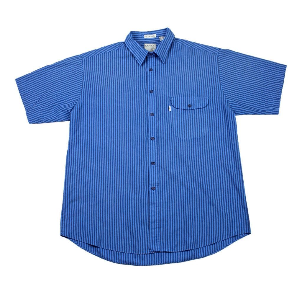 Vintage 80s levis striped mechanics button up shirt mens size for Striped button up shirt mens