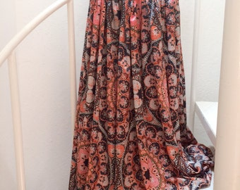 MEDIUM/ Maxi Skirt/ Psychedelic/ Retro/ Floor Length/ Versatile Styling/ Boho/ Romantic/ Hippie/ Resort