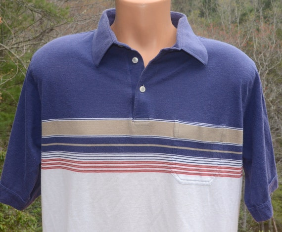 Vintage 80s Polo Golf Shirt Navy Blue Stripe Collar Soft Thin