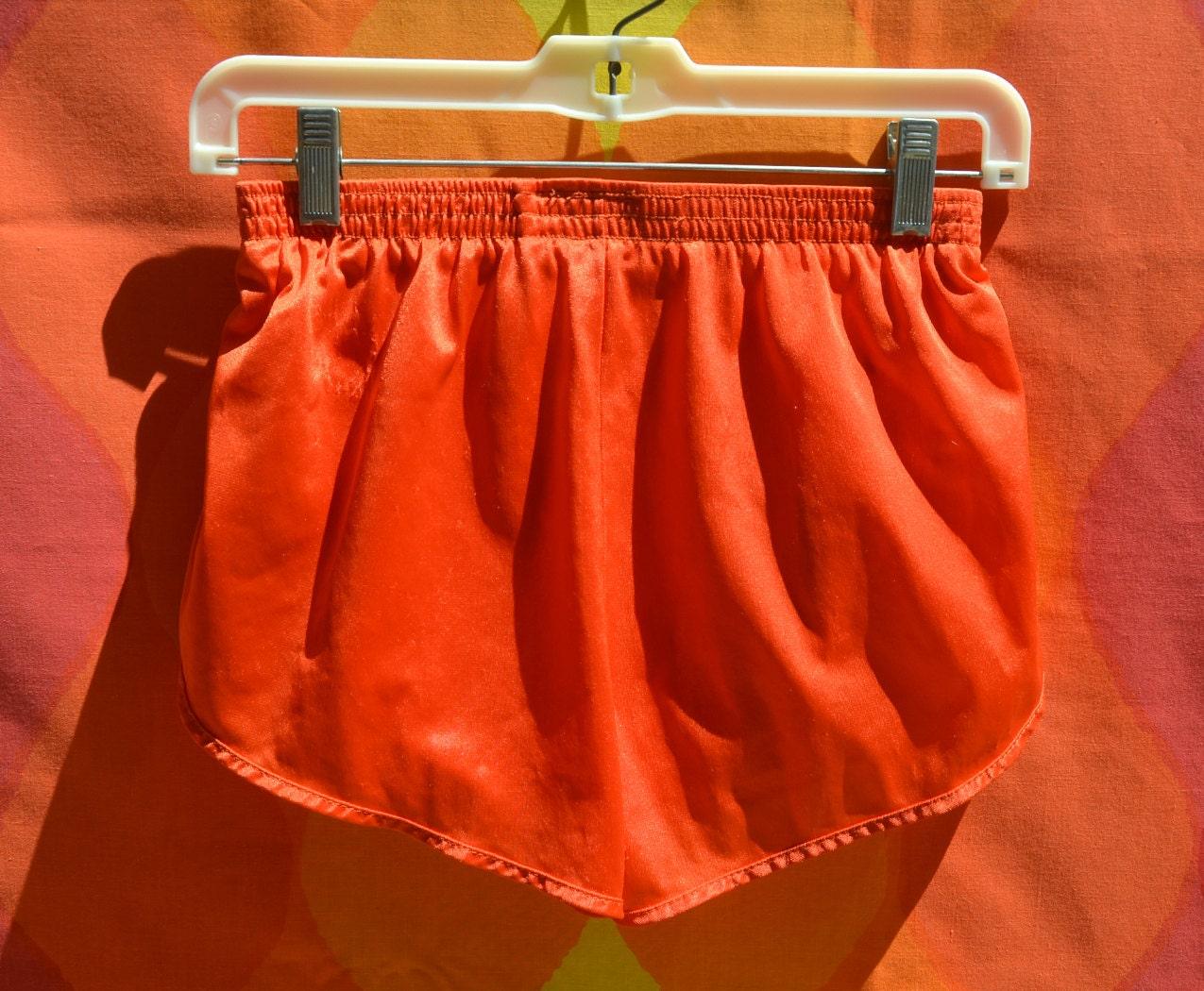 Vintage 70s Jogging Short SHORTS Red Running Gym Nylon Silky