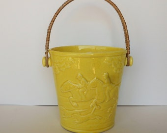 Vintage Yellow Ceramic Planter with Woven Handle and Horse and Rider Scene