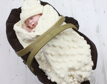 CROCHET PATTERN For Baby Bobble Cocoon, Papoose & Hat in 2 Sizes PDF 315 Digital Download