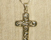 Swirls Cross Necklace Sterling Silver inv1226