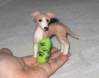 Needle Felted Dog / Custom Pet Portrait / Your Dog in Miniature / Lifelike art doll / Poseable / example Italian Greyhound broken leg