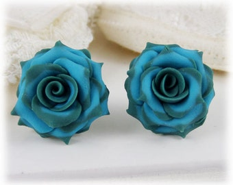 Teal Tip Turquoise Rose Earrings Stud or Clip On