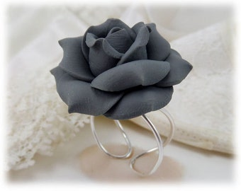 Large Gray Rose Ring - Gray Rose Jewelry, Gray Flower Ring