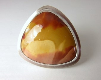 Mookaite Jasper Ring, Cocktail Ring, Sterling Silver Ring