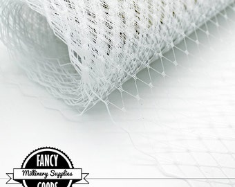 White Veiling - Netting - French - Russian - Millinery / Hat Supplies - 1 Yard