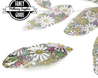 6 - Printed - Goose Feathers - Psychedelic - Groovy - Daisy Print - Perfect for Earrings, Bridal Table Decor & Millinery