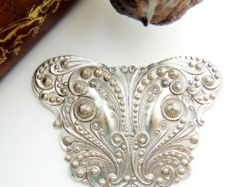 SILVER Victorian Ornate Scroll Cartouche Stamping ~ Jewelry Antique Silver Findings (C-804) #