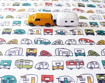 Travel Trailer Cotton Fabric / Camper Fabric / Teardrop Trailer / Retro Fabric / Fabric by the Yard / Multi Colored