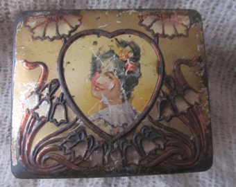 Antique Art Nouveau Tin With Woman In Heart Shape, Ships Worldwide