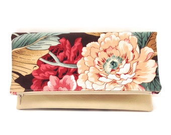 Foldover Clutch Purse Vegan Leather Gift Idea Red Cream Flowers on Brown