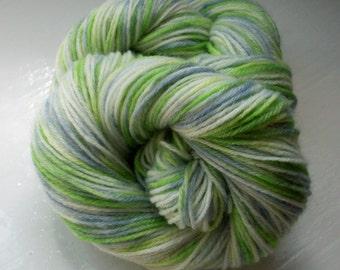 Sock yarn hand painted merino lime green slate grey 100g by SpinningStreak