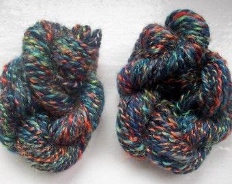 Handspun merino yarn -  dark blue, multi rainbow by SpinningStreak