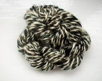 Handspun merino yarn, art yarn, black, white, Angelina sparkle, by SpinningStreak
