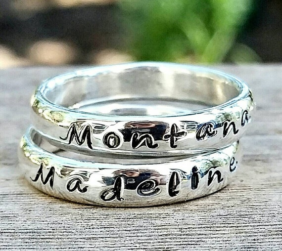 Personalized Name Stacking Ring- Custom Handstamped Engraved Word, Mother's Day Ring Gift, Memory Ring, Message Ring
