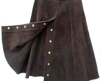 Vintage Seventies Brown Suede Leather A-Line Skirt with Snap Buttons / Folk Festival Gear SALE